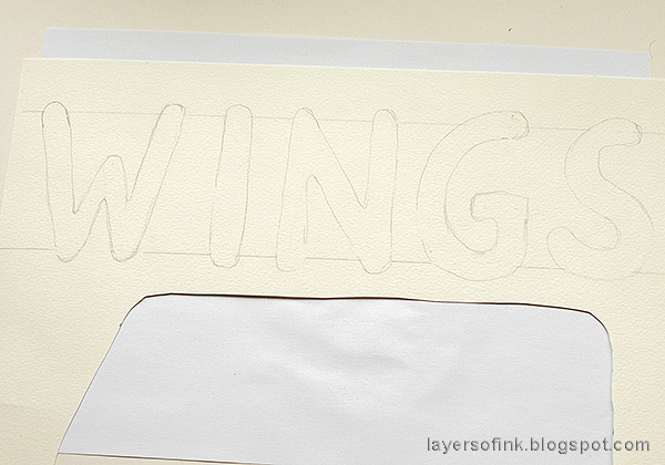 Layers of ink - Brave Wings Art Journal Page Tutorial by Anna-Karin Evaldsson. Draw the letters.