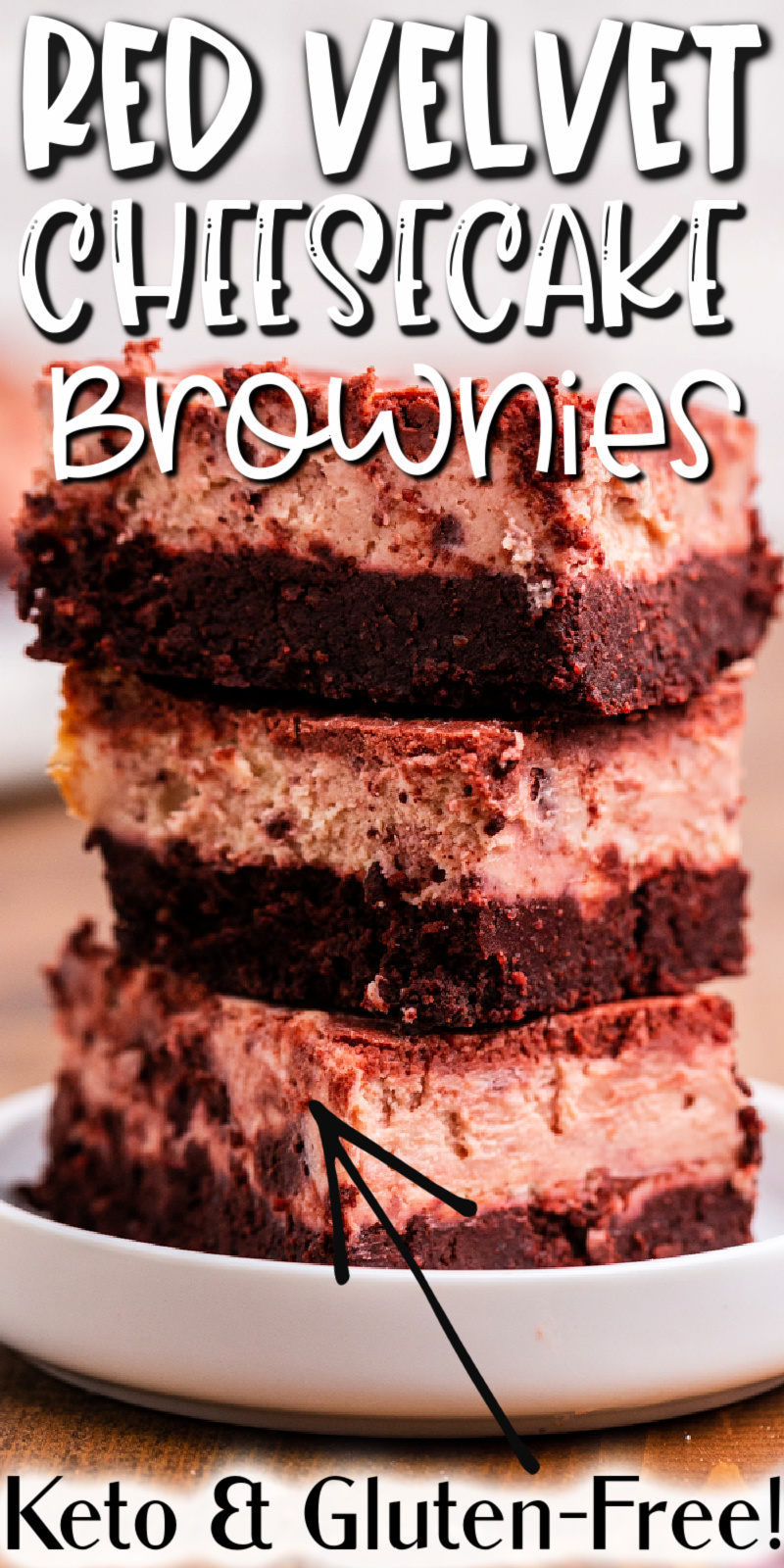 Keto Red Velvet Cheesecake Brownies - These keto red velvet cheesecake brownies are the best keto brownies out there! Fudgy, with a cheesecake center, even non-keto people will love them! #keto #lowcarb #glutenfree #sugarfree #grainfree #chocolate #redvelvet #cheesecake #brownies #dessert #recipe
