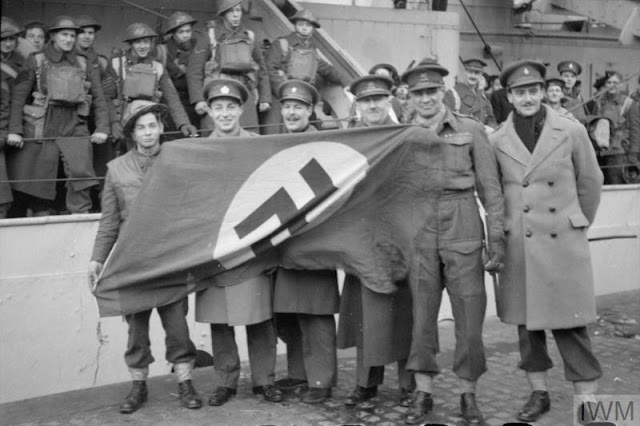 4 March 1941 worldwartwo.filminspector.com Lofoten Islands Operation Claymore captured Swastika flag