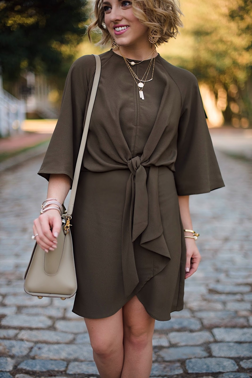 Topshop Tie Front Olive Green Dress - Something Deilghtful Blog