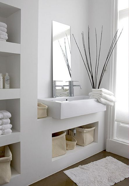 Beautiful white bathroom with open shelves