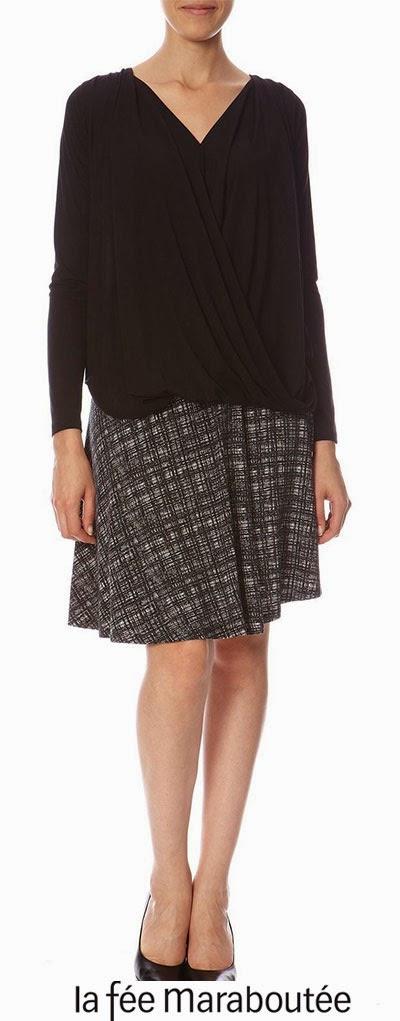 Blouse noire avec sa jupe évasée motif fantaisie La fée maraboutée