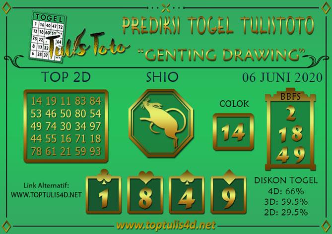 Prediksi Togel GENTING DRAWING TULISTOTO 06 JUNI 2020