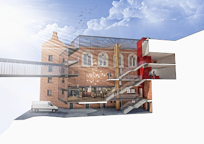 Opera North Capital Redevelopment 2018 (artist's impression of new atrium and access to Howard Assembly Room)
