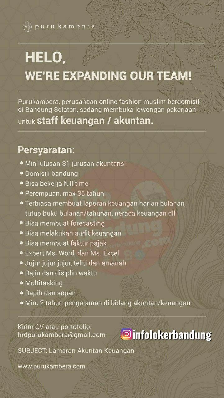 Lowongan Kerja Staff Keuangan / Akuntan Purukambera Bandung Juli 2020
