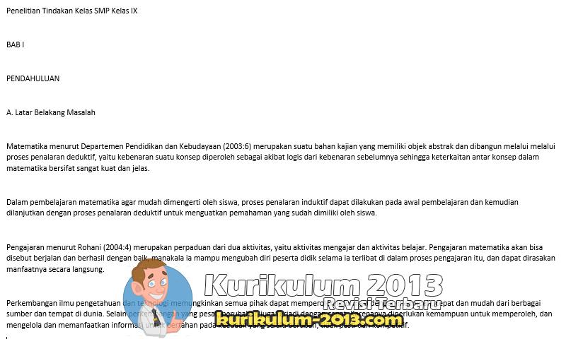 Download Contoh PTK Matematika SMP Untuk Guru Kelas 9 Terbaik