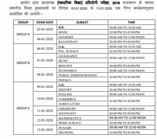 Exam Time Table for RPSE Exam