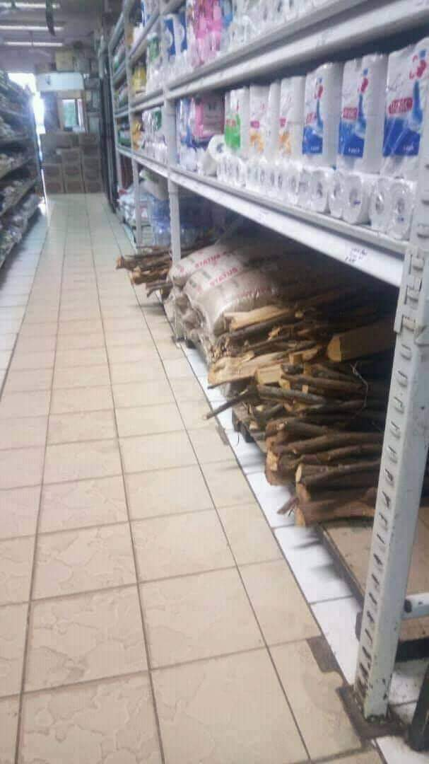 Check Out Trending Photo Of  A Supermarket Selling Firewood