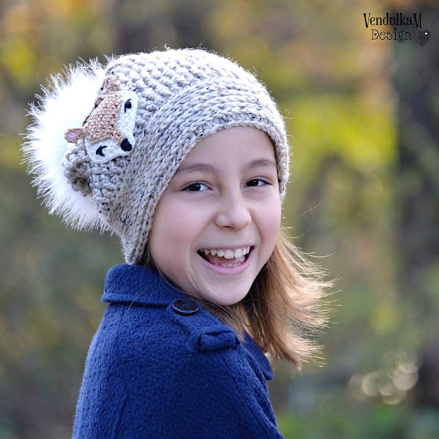 Deer crochet hat pattern by Vendula Maderska