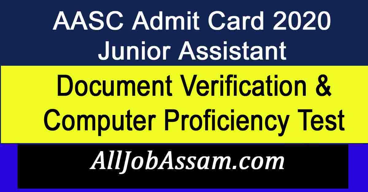 AASC Junior Assistant Admit Card 2020