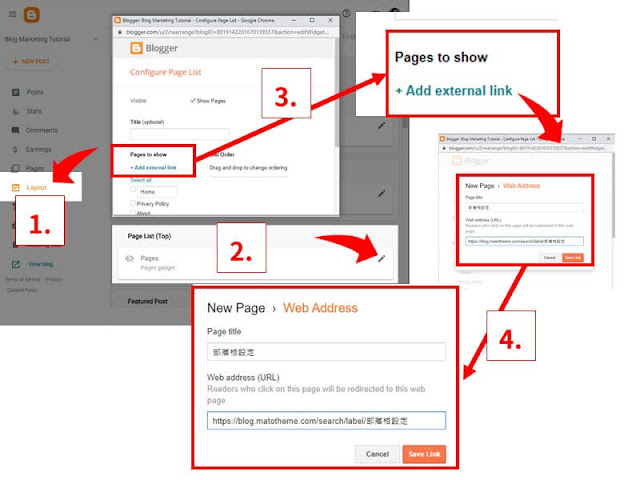 Add blogger label url to pages list