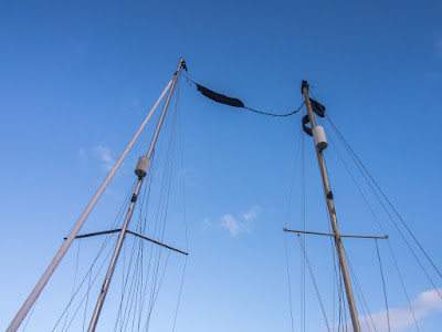 Photo of the tangled masts the following morning