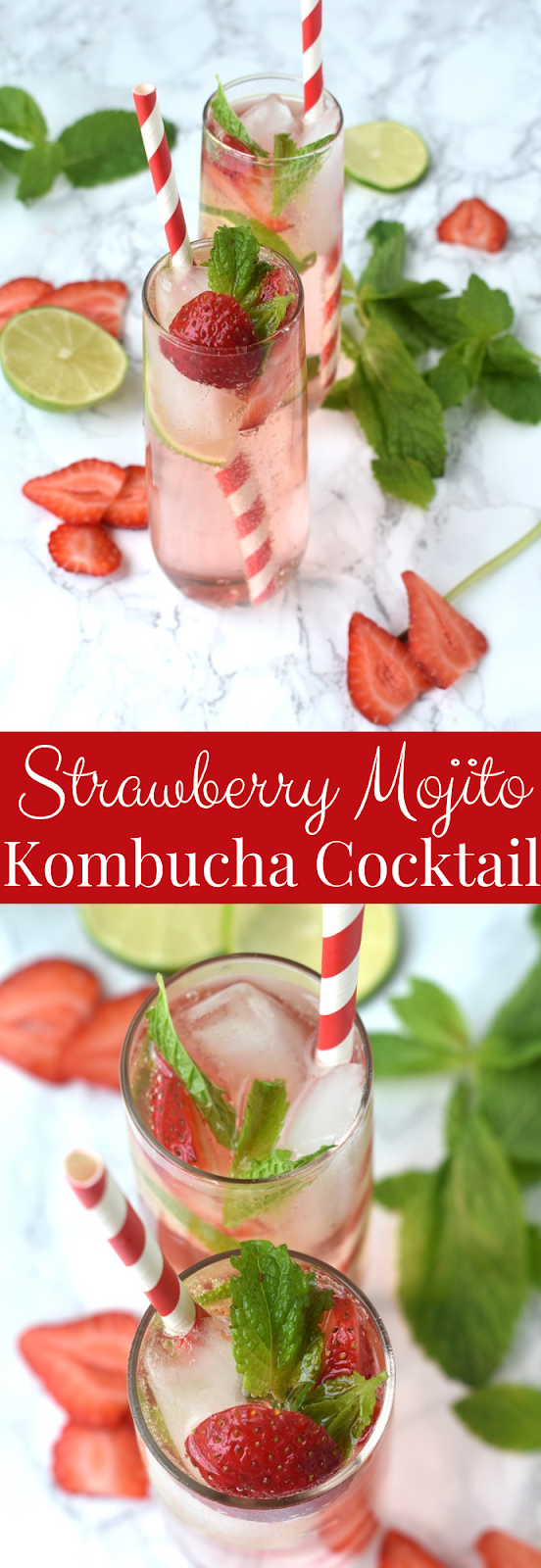 Strawberry Mojito Kombucha Cocktail recipe