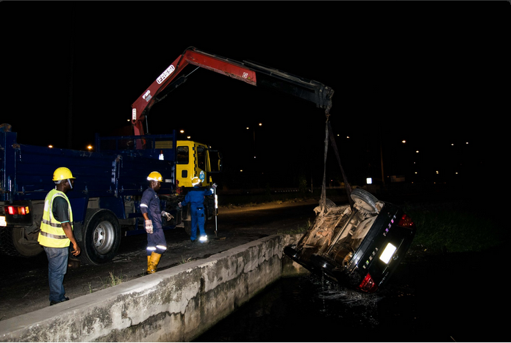 Man And Over Speedy Car Ran into A Canal In Lagos {See Photos}