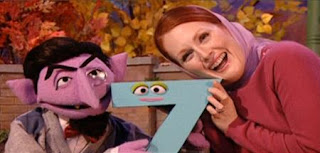Julianne Moore and the Count are together in a sketch of Far From Seven. Sesame Street Best of Friends