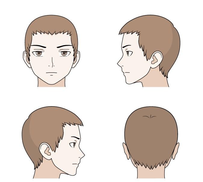 Menggambar rambut anime pendek di bagian depan dan samping