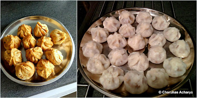 Fried Modak: Left, Steamed Modak: right