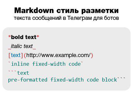 Markdown стиль разметки текста сообщений в Telegram