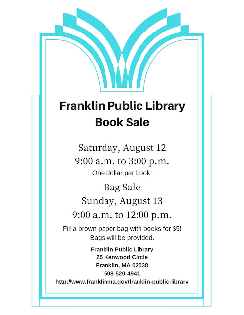 Franklin Public Library Book Sale, Saturday, August 12, 9:00 AM to 3:00 PM