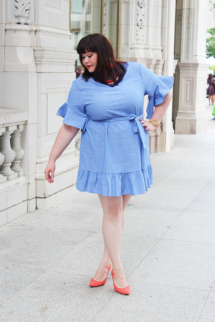 Plus Size Blogger Amber from Style Plus Curves in a Chambray Ruffled Plus Size Dress from Perfectly Priscilla Boutique
