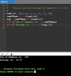 Compute average using Python Lists
