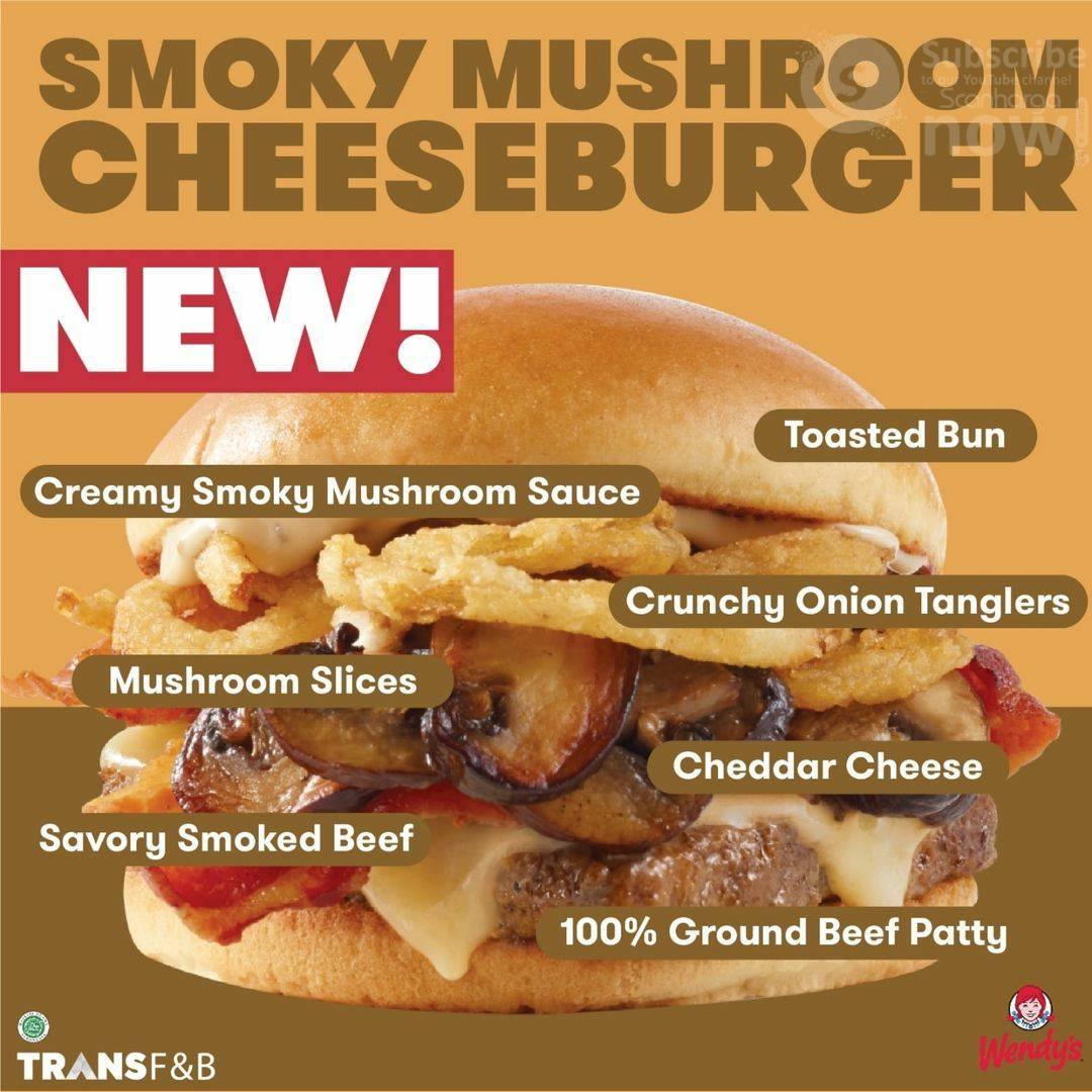 Harga Promo WENDY'S SMOKY Mushroom CheeseBurger mulai Rp. 47.273