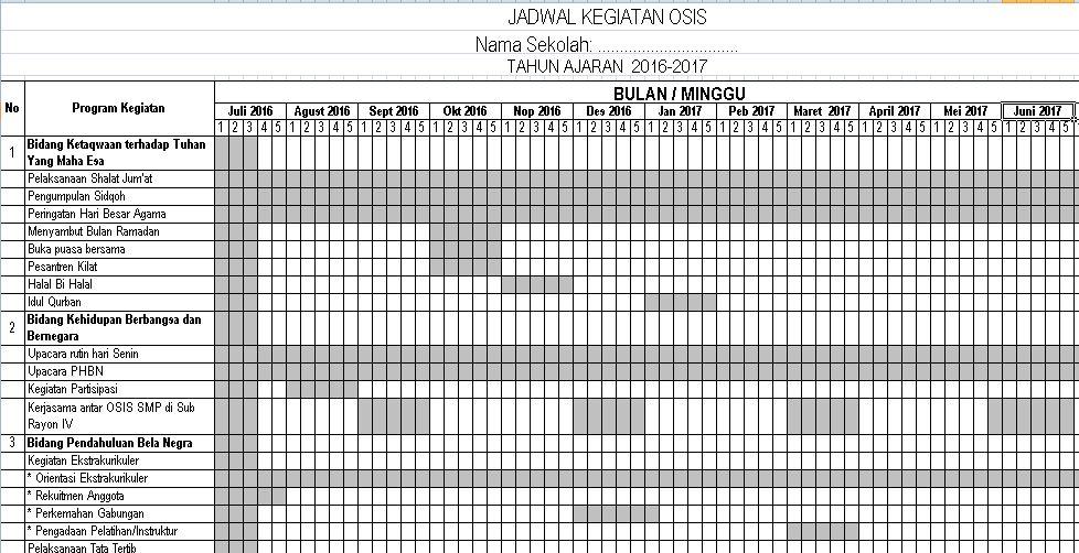 Download Contoh Program Kerja Tahunan OSIS Tingkat SMP dan SMA Tahun Ajaran 2016-2017 Format Microsoft Excel