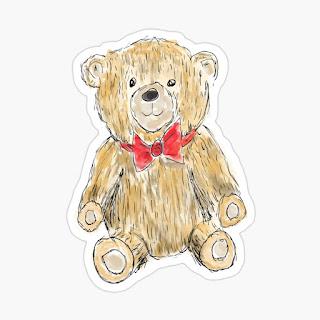Cute illustrated teddy bear sticker