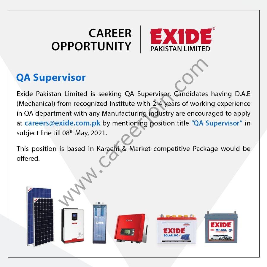 Exide Pakistan Ltd Jobs  2021 in Pakistan