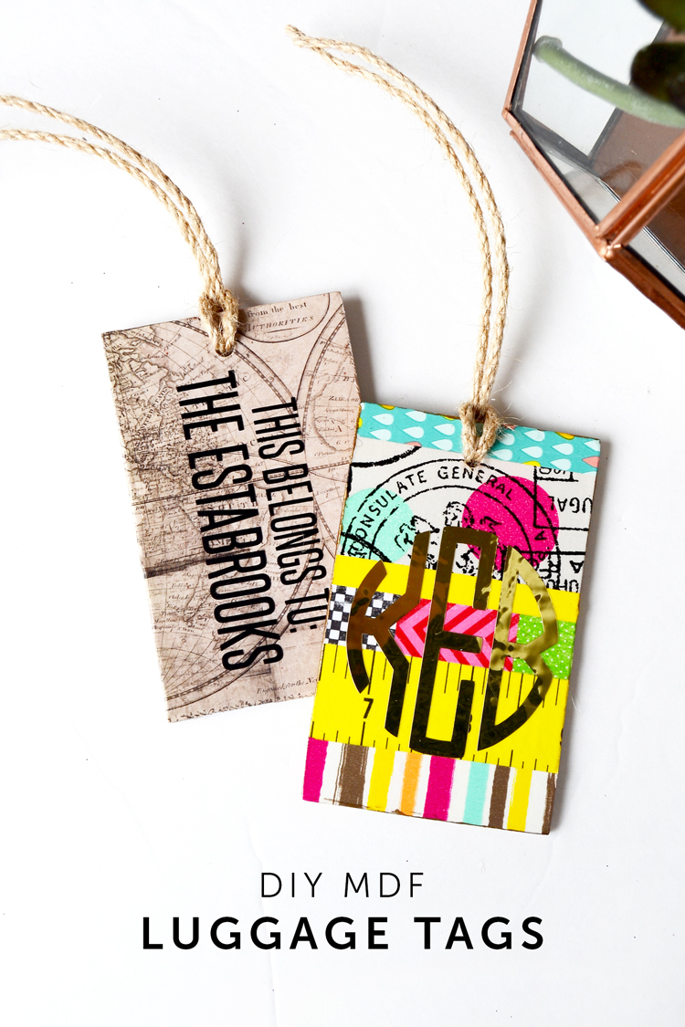 diy mod podge mdf luggage tags