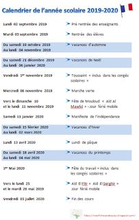 calendrier scolaire 2019 2020 enseignement français vacances jours fériés mes fiches pratiques