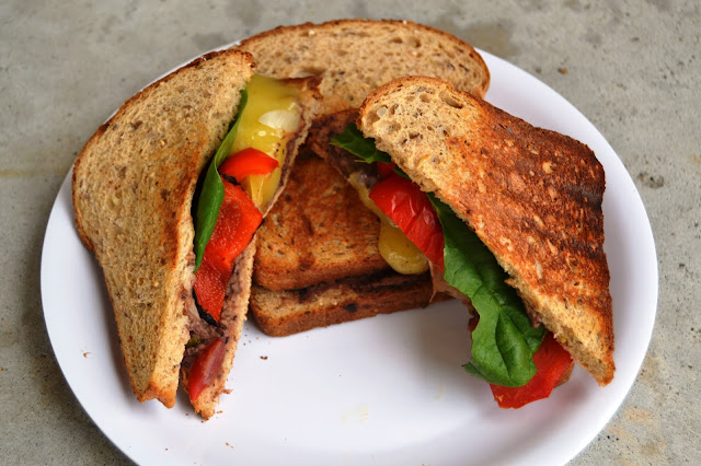 Grilled Vegetable Sandwich with Black Bean Hummus
