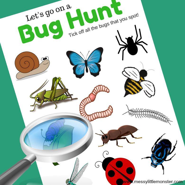 Bug scavenger hunt spring activities for kids