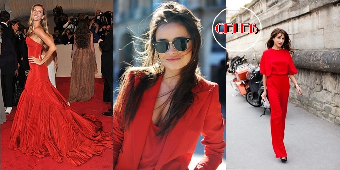 total red celebrity street style looks