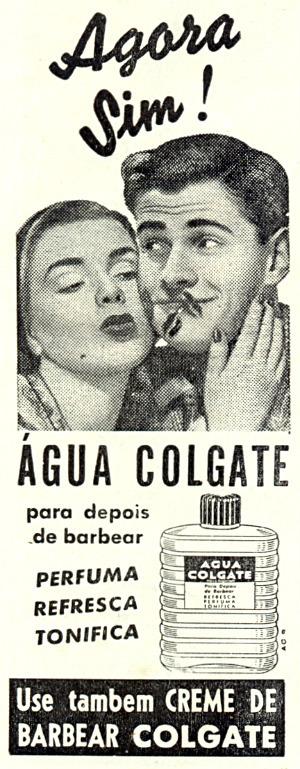 Campanha dos anos 50 da uma loção pós-barba da Colgate