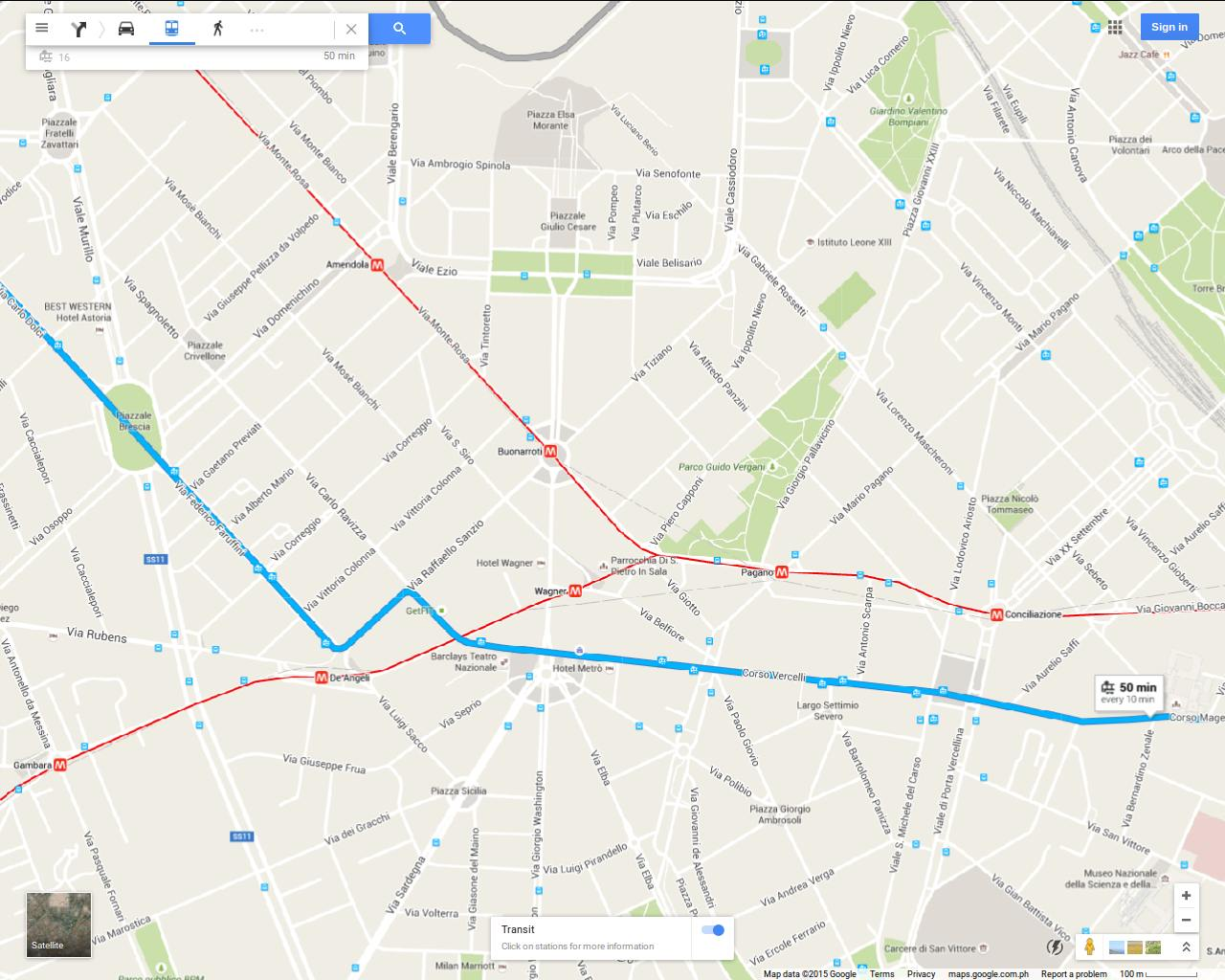 Map Of Transport Connections Offered By Tram 16 And The Red M1 Metro Line Around Via