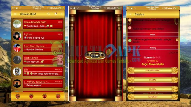 Aplikasi BBM Mod Romantic Gold Terbaru Versi 2.13.1.14 Apk