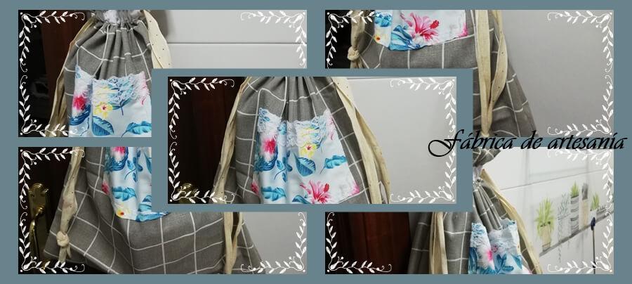 Collage de varias vistas y detalles de la bolsa del pan