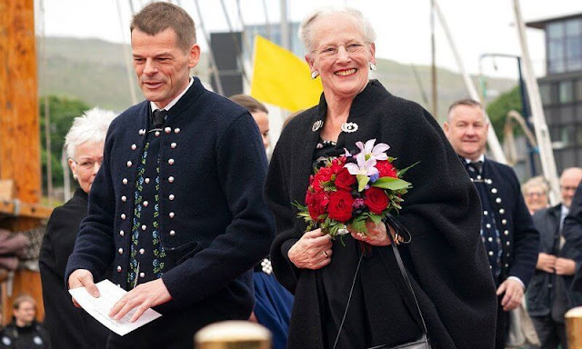 Queen Margrethe made a visit to the Faroe Islands aboard the Royal Yacht Dannebrog