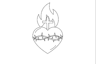 Add a cross to the top of the heart in front of the flame