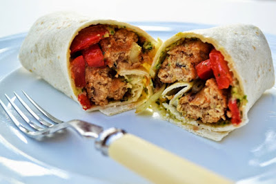 Veggie Sausage, Red Pepper & Hummus Wraps