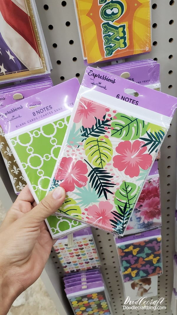 Did you know that Dollar Tree stocks Hallmark cards? Not only do they have special occasion cards lining the aisles, but they have note packs on the end caps. They have 6-8 cards plus envelopes inside!