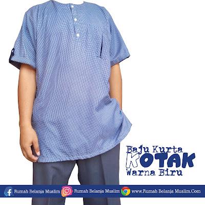 Baju Koko Pria Selutut Kotak Biru