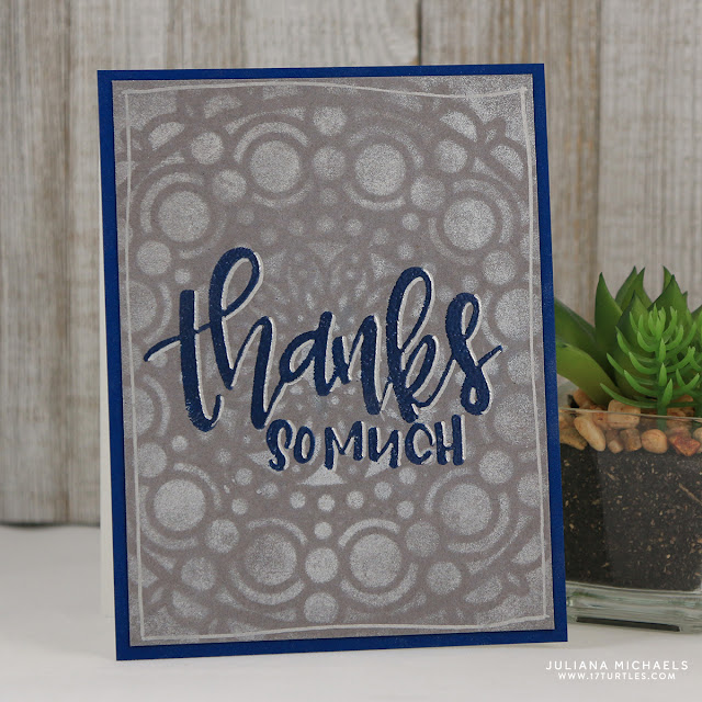 Thanks So Much Card by Juliana Michaels featuring Ranger Ink Letter It™ Perfect Pearls and Heat Embossing