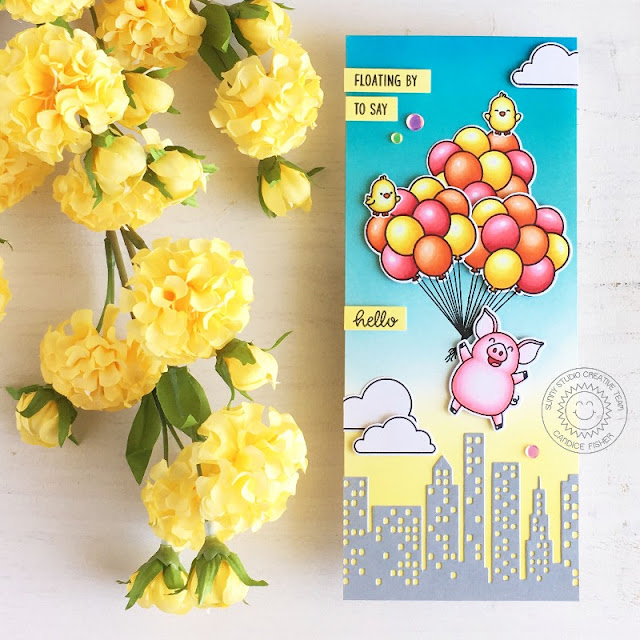 Sunny Studio Stamps: Floating By Hogs & Kisses Cityscape Border Dies Hello Card by Candice Fisher