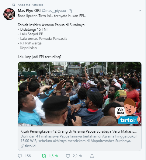 Fpi Kasus Surabaya mahasiswa Papua