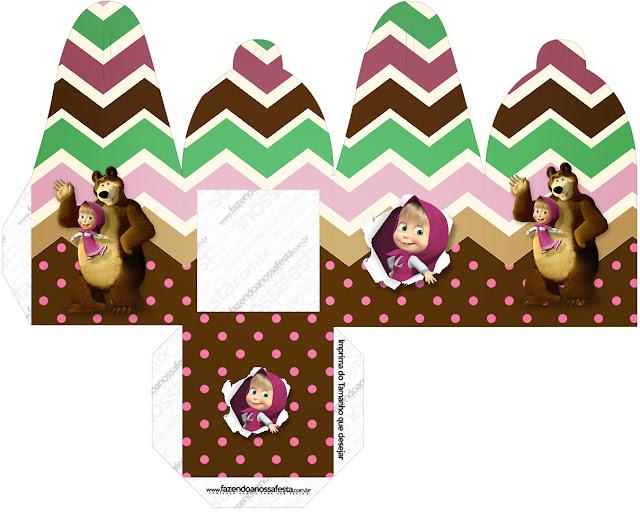 Caja para cupcakes, chocoltes o golosinas de Masha y el Oso.