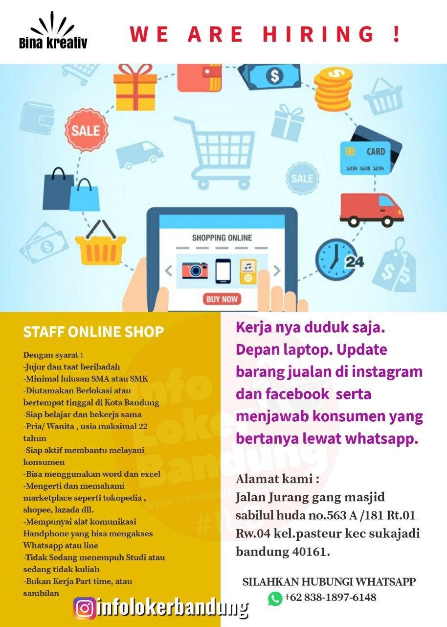 Lowongan Kerja Staff Online Shop Bina Kreativ Bandung Juni 2020