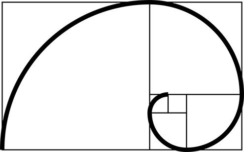 ilustracion de la espiral de fibonacci (fibonnaci sequence), sucesión de fibonacci, secuencia de fibonacci, o también llamada espiral dorada; todo ello con fondo blanco 5