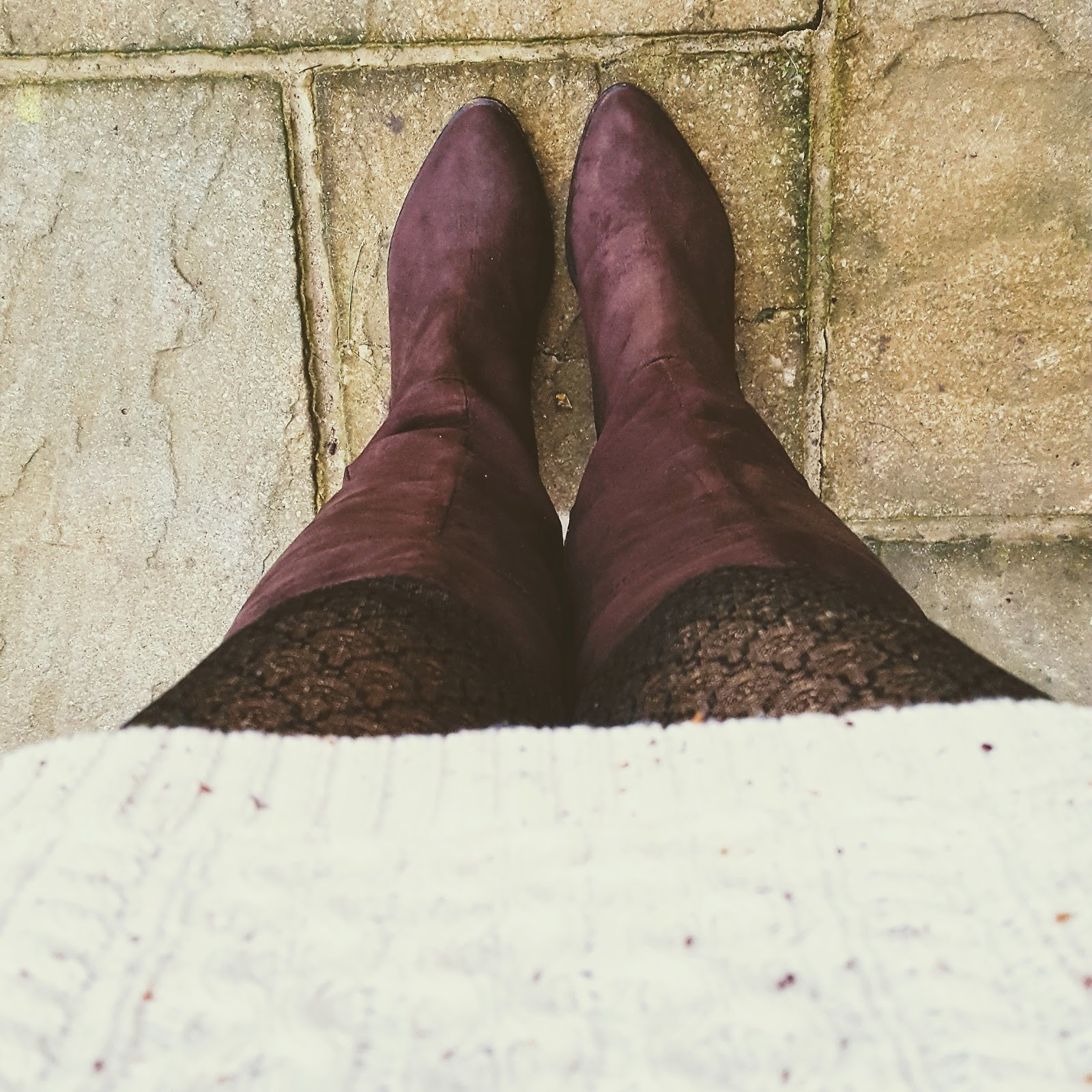 Cream Jumper Dress And Long Brown Boots